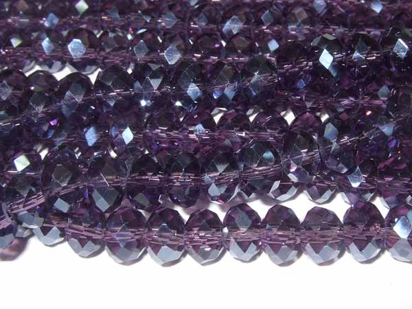 Strang facettierte Glasrondelle 6 *4 mm Violett