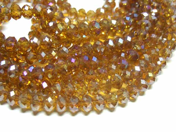 Strang facettierte Glasrondelle 6 *4  mm Amber AB