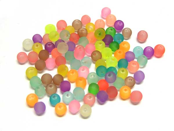 100 matte bunte Glasperlen 4 mm