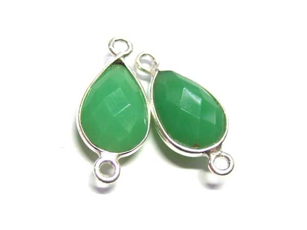 facettierter  Green Chalcedon Connectoren 14415