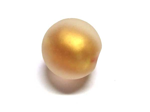 Glasperle mattierte Goldfoilperle 12 mm rotgold