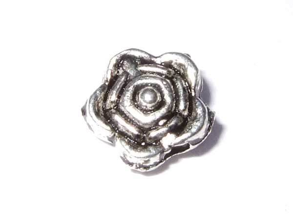 Rose aus Metall 6,5 mm 10 Perlen