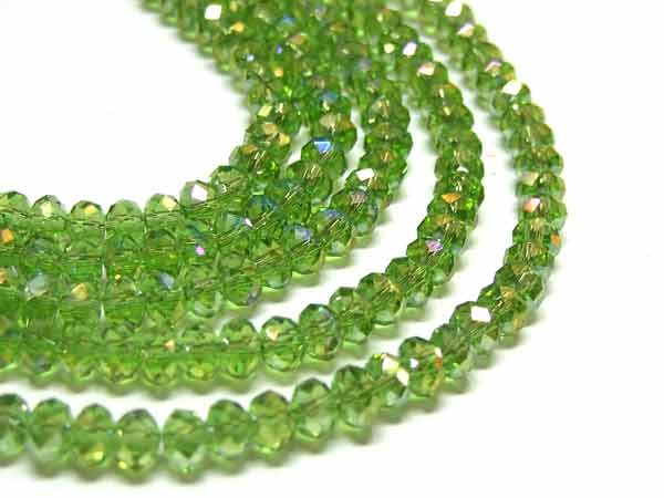 Strang facettierte Glasrondelle 4 mm Peridot AB