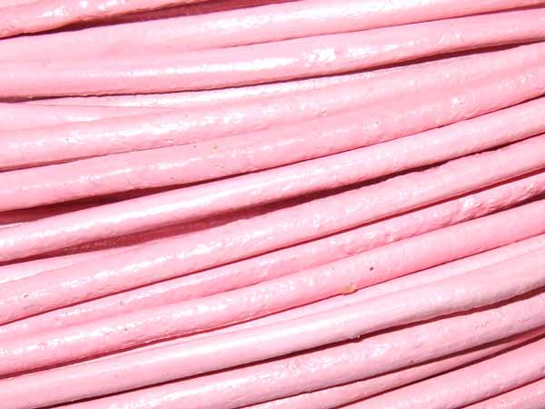 Lederband 2 mm babyrosa